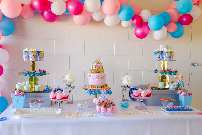 Cinderella themed cake table from a Princess Cinderella Birthday Party on Kara's Party Ideas | KarasPartyIdeas.com (9)