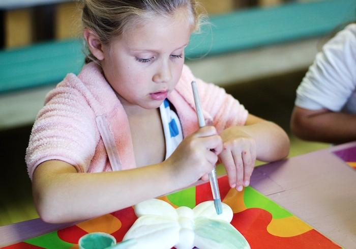 Butterfly paint craft from a Rainbow Art + Painting Party via Kara's Party Ideas | KarasPartyIdeas.com (15)