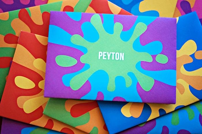Personalized paint splatter invitation envelopes from a Rainbow Art + Painting Party via Kara's Party Ideas | KarasPartyIdeas.com (9)