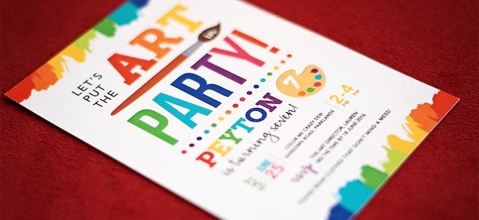 Invitation from a Rainbow Art + Painting Party via Kara's Party Ideas | KarasPartyIdeas.com (26)