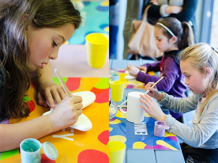 Painting activity at an Rainbow Art + Painting Party via Kara's Party Ideas | KarasPartyIdeas.com (5)