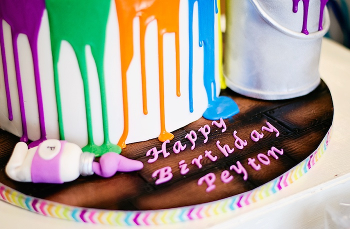 Cake detail from a Rainbow Art + Painting Party via Kara's Party Ideas | KarasPartyIdeas.com (24)