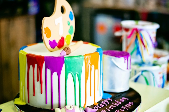 Paint Drizzle Birthday Cake From A Rainbow Art Painting Party Via Karas Ideas