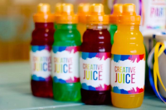 Juice bottles from a Rainbow Art + Painting Party via Kara's Party Ideas | KarasPartyIdeas.com (22)
