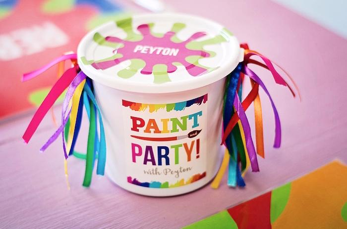 Personalized paint bucket favor from a Rainbow Art + Painting Party via Kara's Party Ideas | KarasPartyIdeas.com (21)