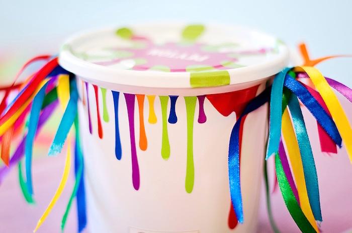 Paint splatter favor bucket from a Rainbow Art + Painting Party via Kara's Party Ideas | KarasPartyIdeas.com (20)