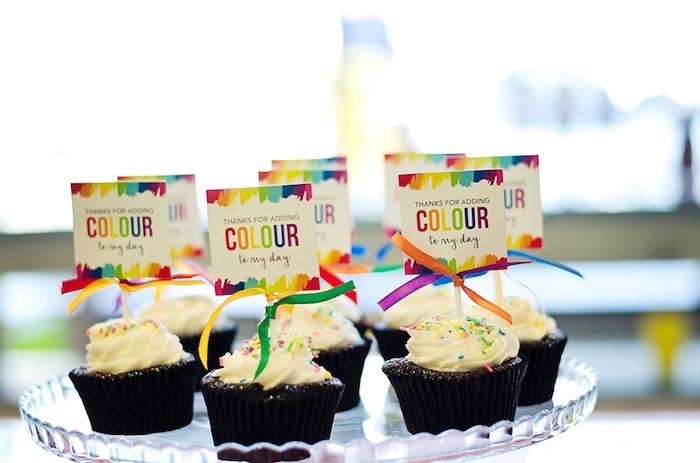 Cupcakes from a Rainbow Art + Painting Party via Kara's Party Ideas | KarasPartyIdeas.com (18)