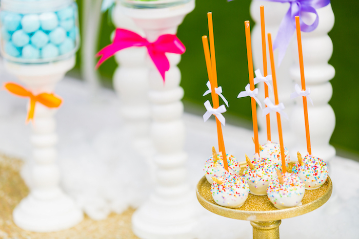 Unicorn cake pops from a Gold Rainbow Unicorn Birthday Party via Kara's Party Ideas | KarasPartyIdeas.com (6)