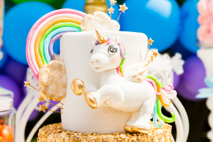Unicorn cake from a Gold Rainbow Unicorn Birthday Party via Kara's Party Ideas | KarasPartyIdeas.com (5)