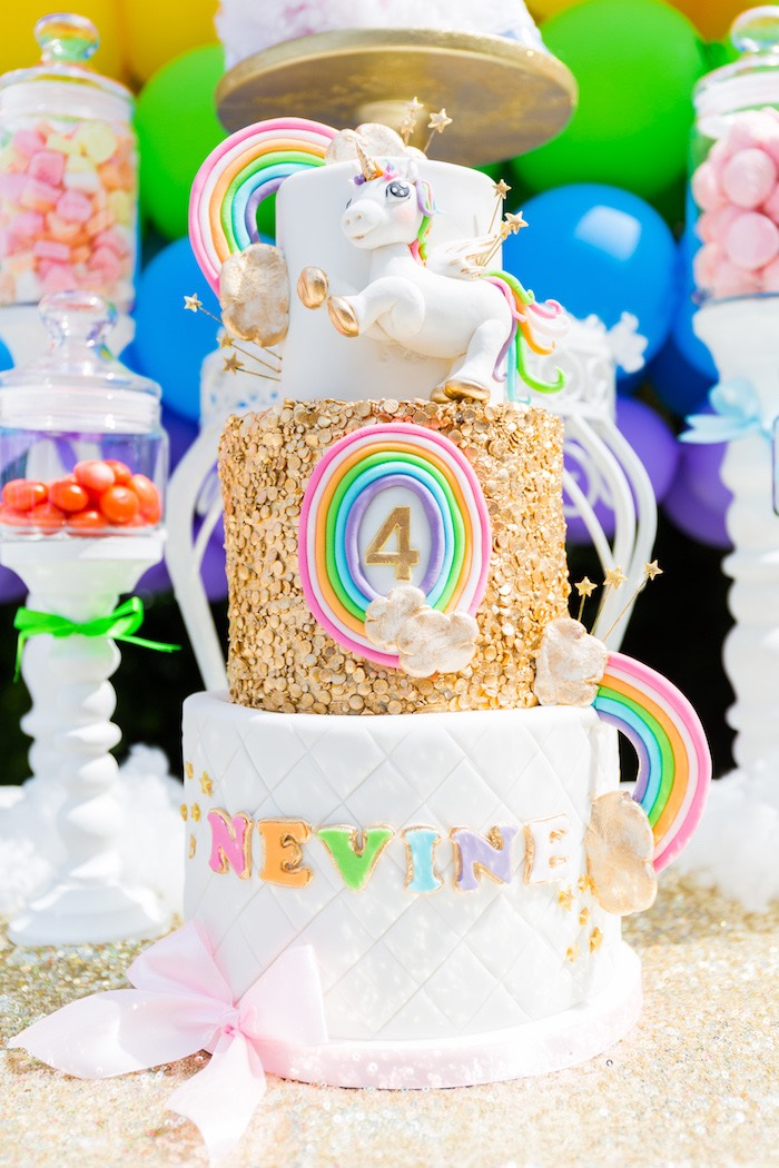 Glam Unicorn Cake from a Rainbow Unicorn Birthday Party via Kara's Party Ideas | KarasPartyIdeas.com (4)