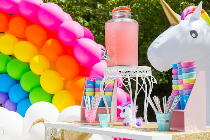 Drink station from a Rainbow Unicorn Birthday Party via Kara's Party Ideas | KarasPartyIdeas.com (16)