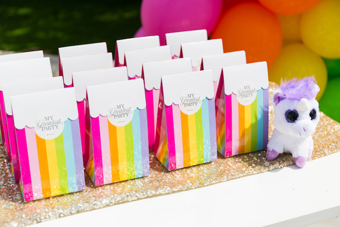 Rainbow favor bags from a Gold Rainbow Unicorn Birthday Party via Kara's Party Ideas | KarasPartyIdeas.com (15)