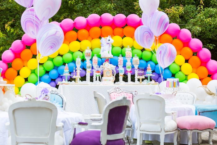Rainbow dessert table from a Rainbow Unicorn Birthday Party via Kara's Party Ideas | KarasPartyIdeas.com (13)