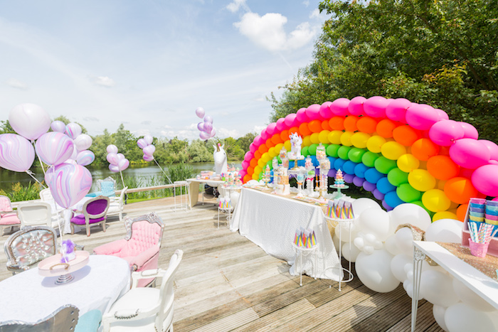 Gorgeous party spread from a Rainbow Unicorn Birthday Party via Kara's Party Ideas | KarasPartyIdeas.com (12)