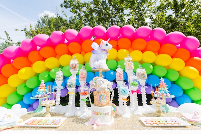 Rainbow dessert table from a Rainbow Unicorn Birthday Party via Kara's Party Ideas | KarasPartyIdeas.com (11)