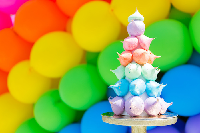 Meringue kisses tower from a Rainbow Unicorn Birthday Party via Kara's Party Ideas | KarasPartyIdeas.com (10)