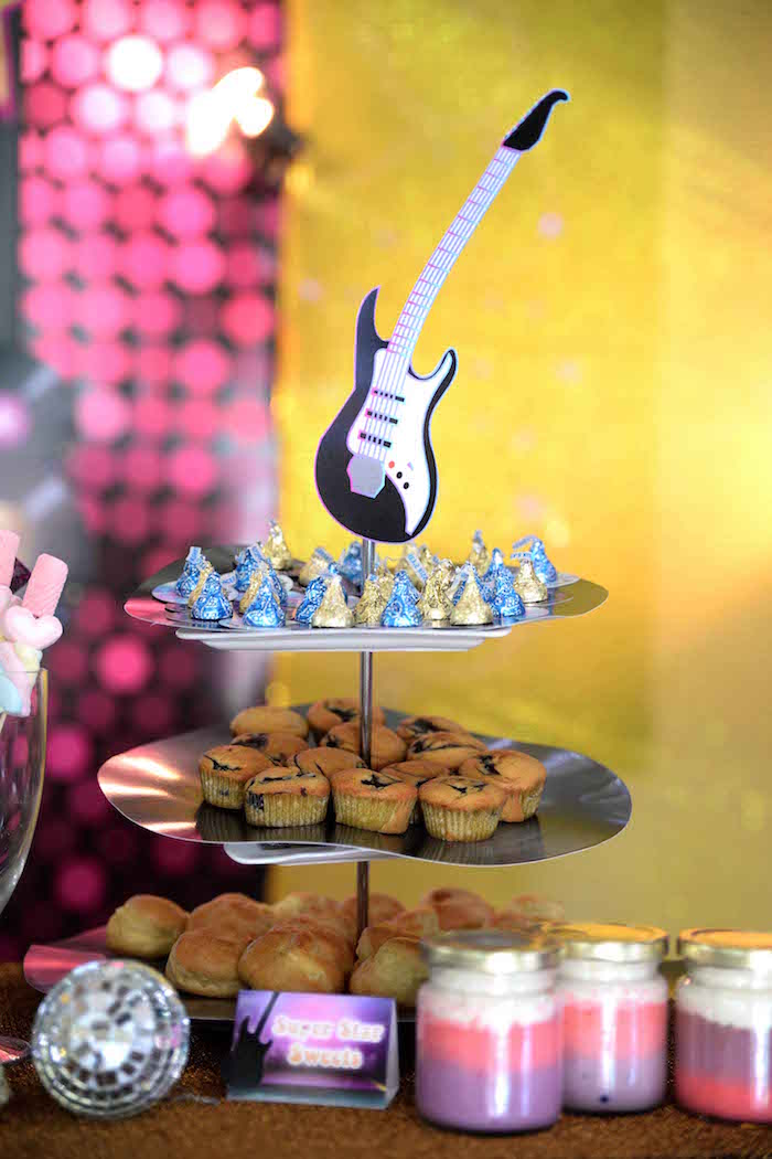 Sweet stand from a Rock Star Birthday Party on Kara's Party Ideas | KarasPartyIdeas.com (7)