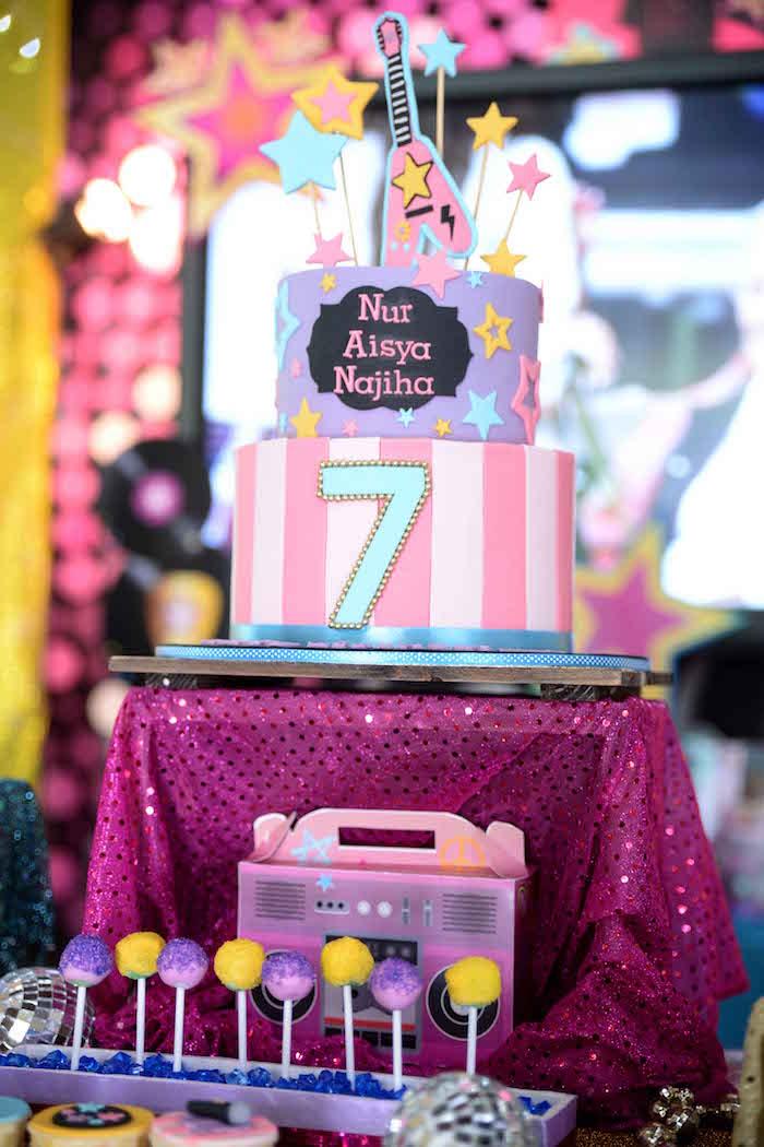 Rock Star Birthday Cake from a Rock Star Birthday Party on Kara's Party Ideas | KarasPartyIdeas.com (6)