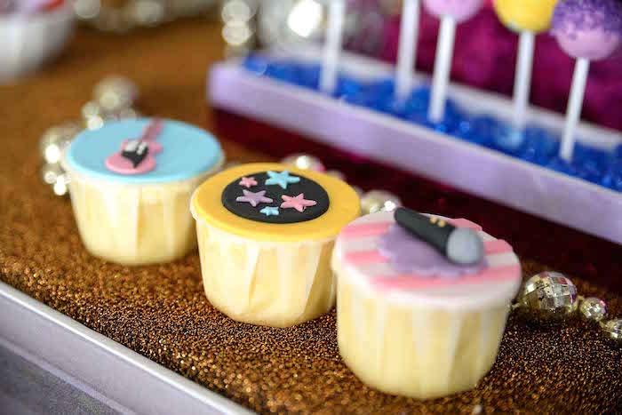 Cupcakes from a Rock Star Birthday Party on Kara's Party Ideas | KarasPartyIdeas.com (4)