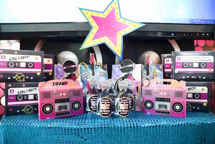 Favor table form a Rock Star Birthday Party on Kara's Party Ideas | KarasPartyIdeas.com (15)