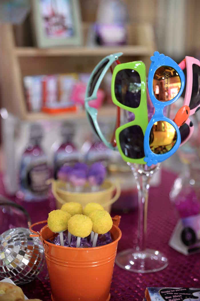 Cake pops and shades from a Rock Star Birthday Party on Kara's Party Ideas | KarasPartyIdeas.com (10)