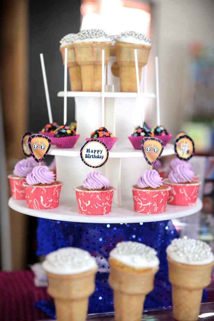 Cone cupcakes, cake pops and cupcakes from a Rock Star Birthday Party on Kara's Party Ideas | KarasPartyIdeas.com (9)