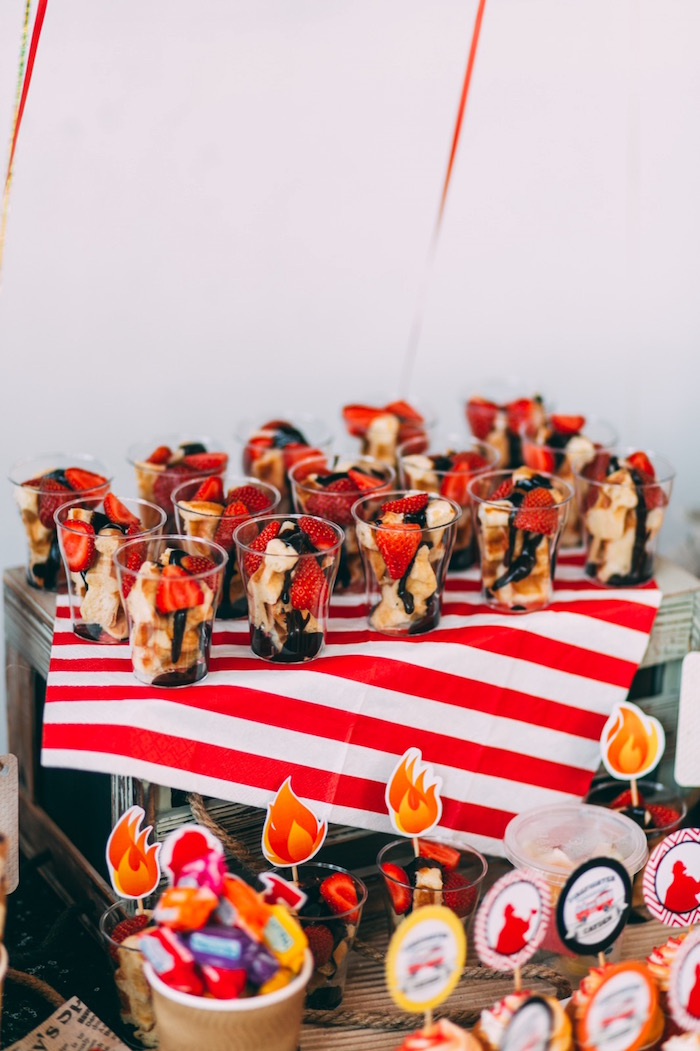 Fruit cups from a Rustic Firefighter Birthday Party via Kara's Party Ideas KarasPartyIdeas.com (28)