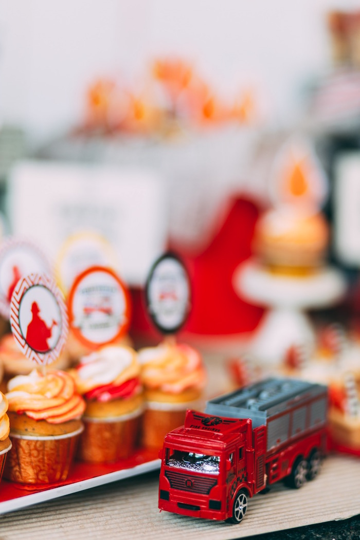 Tiny toy fire truck from a Rustic Firefighter Birthday Party via Kara's Party Ideas KarasPartyIdeas.com (25)