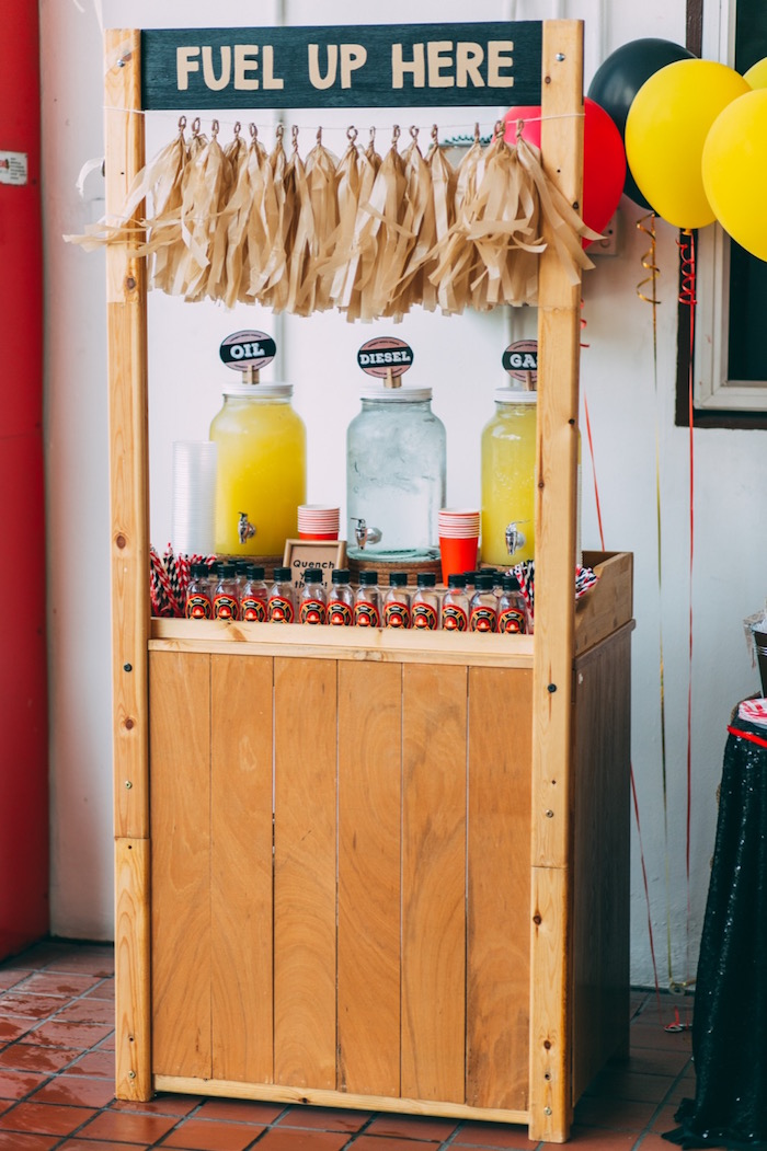 Drink + fuel station from a Rustic Firefighter Birthday Party via Kara's Party Ideas KarasPartyIdeas.com (21)