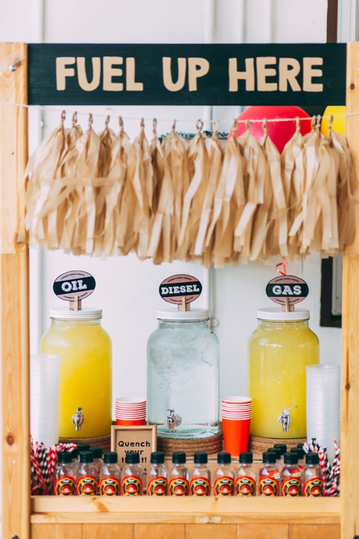 Drink + fuel station from a Rustic Firefighter Birthday Party via Kara's Party Ideas KarasPartyIdeas.com (20)
