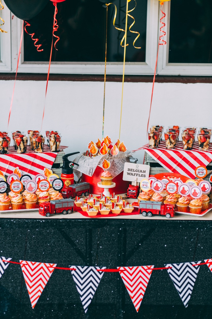 Dessert table from a Rustic Firefighter Birthday Party via Kara's Party Ideas KarasPartyIdeas.com (16)