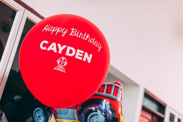 Custom oversized balloon from a Rustic Firefighter Birthday Party via Kara's Party Ideas KarasPartyIdeas.com (14)