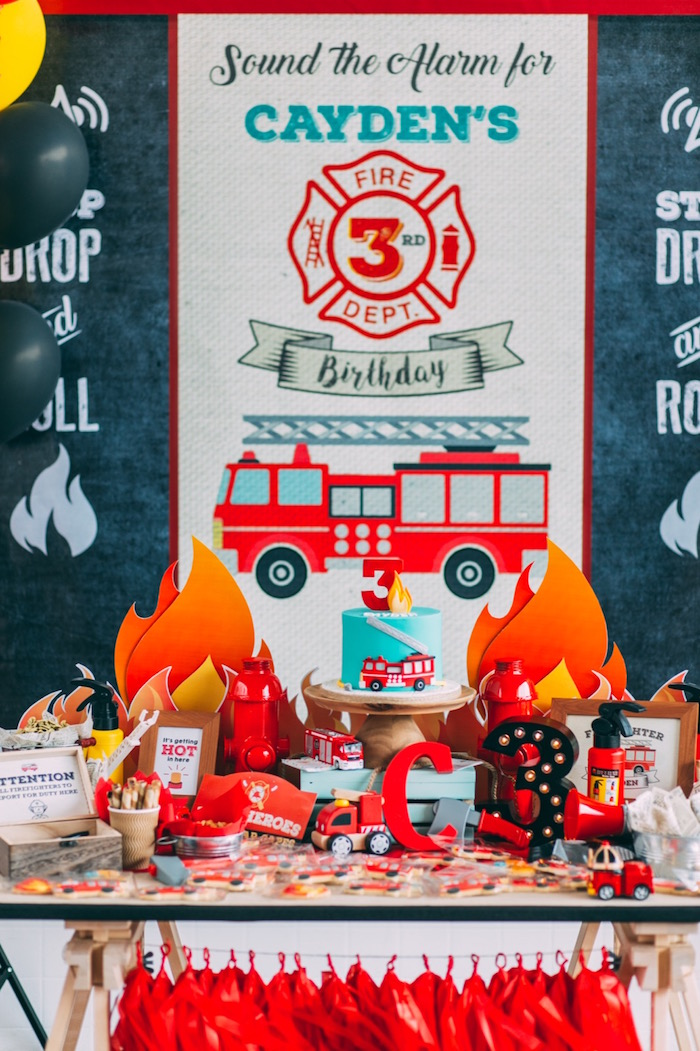 Head party table from a Rustic Firefighter Birthday Party via Kara's Party Ideas KarasPartyIdeas.com (12)