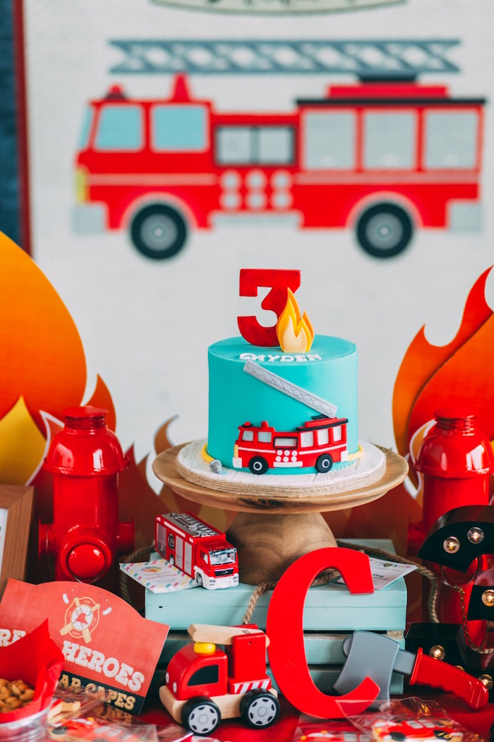 Fire Station Birthday Cake