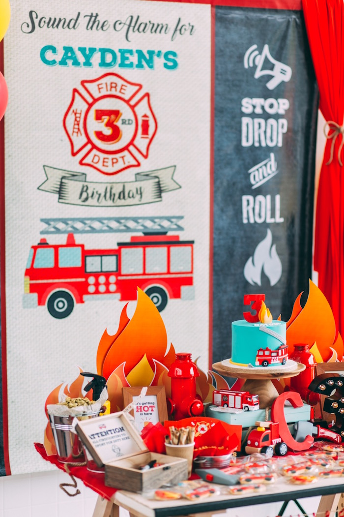 Rustic Firefighter Birthday Party via Kara's Party Ideas KarasPartyIdeas.com (10)