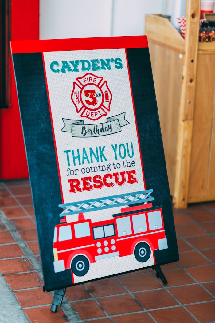 Party sign from a Rustic Firefighter Birthday Party via Kara's Party Ideas KarasPartyIdeas.com (37)