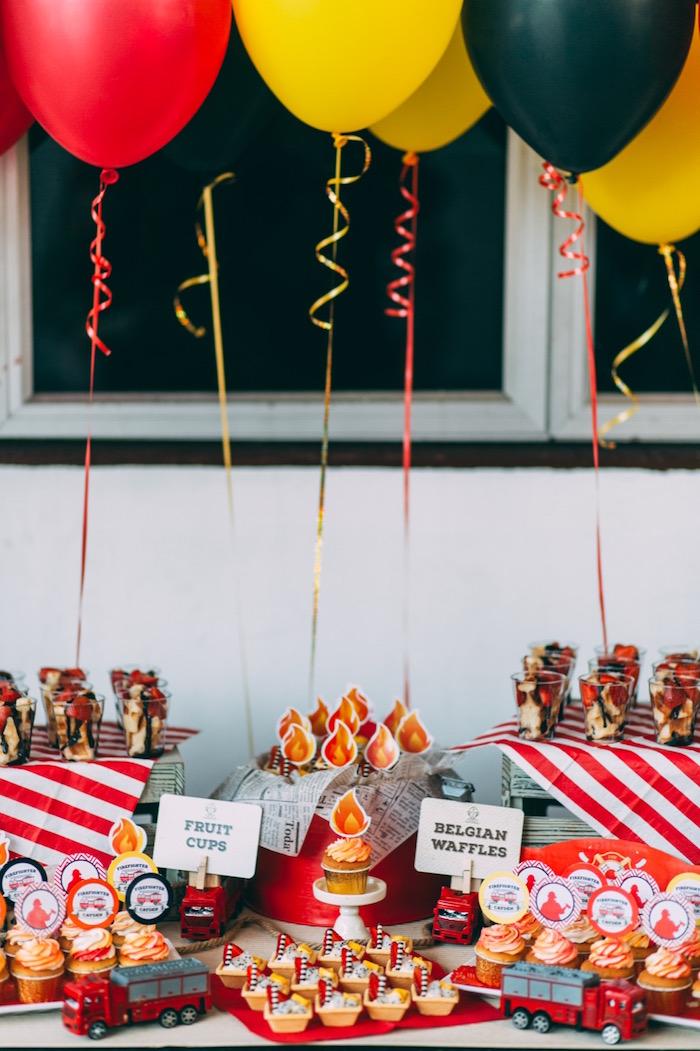 Balloon party table from a Rustic Firefighter Birthday Party via Kara's Party Ideas KarasPartyIdeas.com (33)