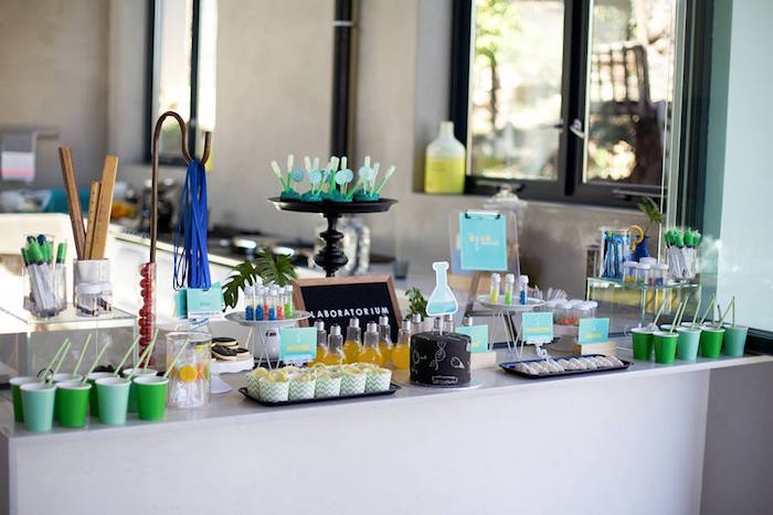 Science party table from a Science + Scientist Birthday Party via Kara's Party Ideas | KarasPartyIdeas.com (13)