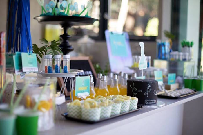 Party table from a Science + Scientist Birthday Party via Kara's Party Ideas | KarasPartyIdeas.com (12)