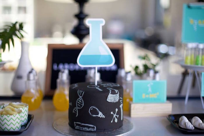 Science-inspired cake from a Science + Scientist Birthday Party via Kara's Party Ideas | KarasPartyIdeas.com (8)