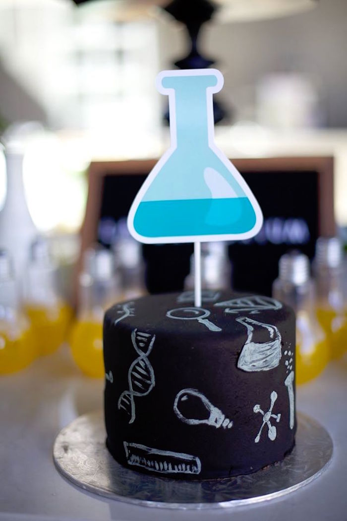Chalkboard science cake from a Science + Scientist Birthday Party via Kara's Party Ideas | KarasPartyIdeas.com (4)