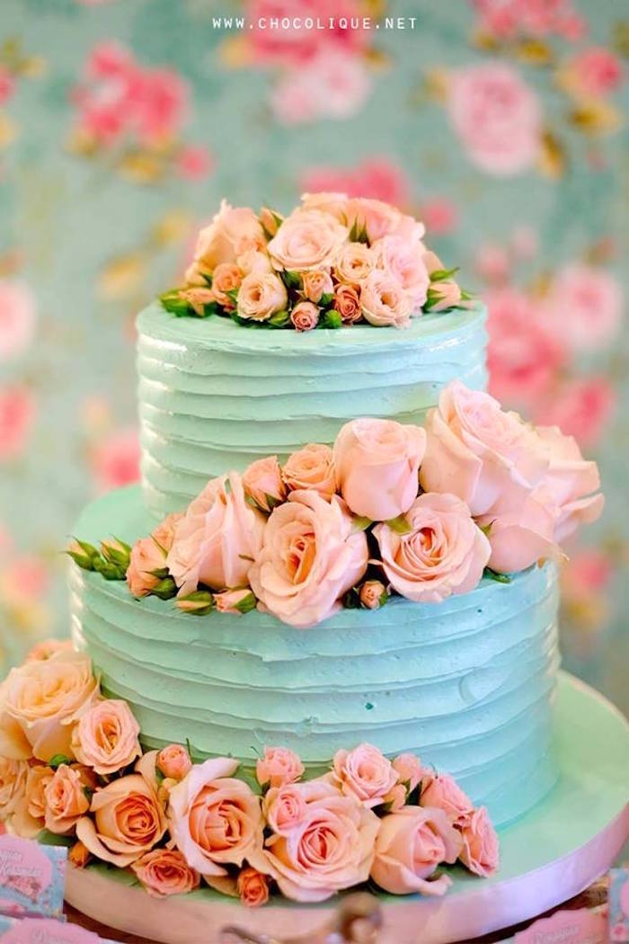 Shabby chic cake adorned with pink roses from a Shabby Chic Baby Shower via Kara's Party Ideas | KarasPartyIdeas.com (13)