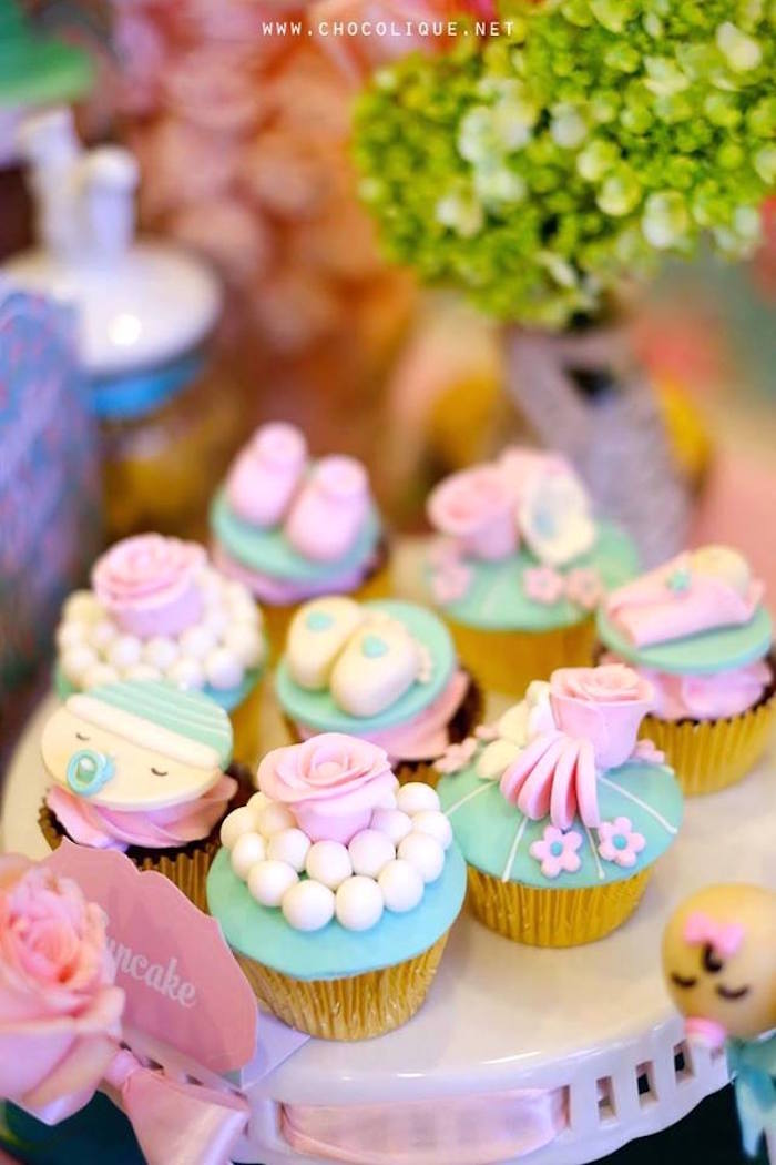 Cupcakes from a Shabby Chic Baby Shower via Kara's Party Ideas | KarasPartyIdeas.com (12)