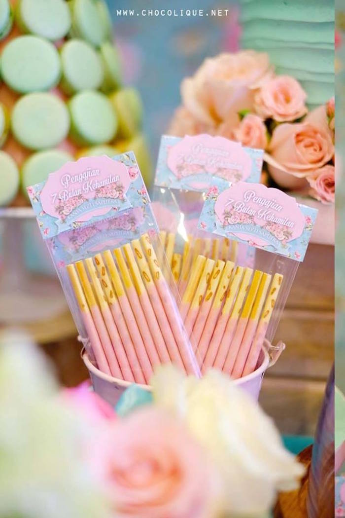 Wafer sticks from a Shabby Chic Baby Shower via Kara's Party Ideas | KarasPartyIdeas.com (11)