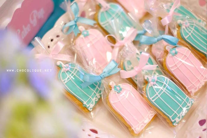 Bird cage sugar cookies from a Shabby Chic Baby Shower via Kara's Party Ideas | KarasPartyIdeas.com (8)
