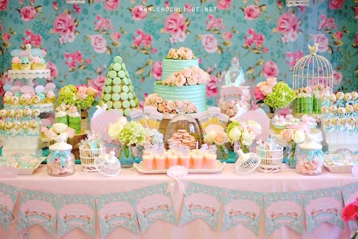 Dessert spread from a Shabby Chic Baby Shower via Kara's Party Ideas | KarasPartyIdeas.com (6)