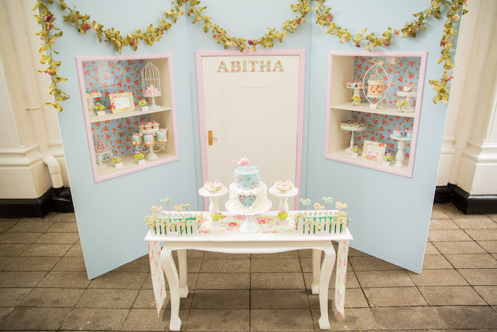 Party setup from a Shabby Chic Little Bird Birthday Party on Kara's Party Ideas | KarasPartyIdeas.com (28)