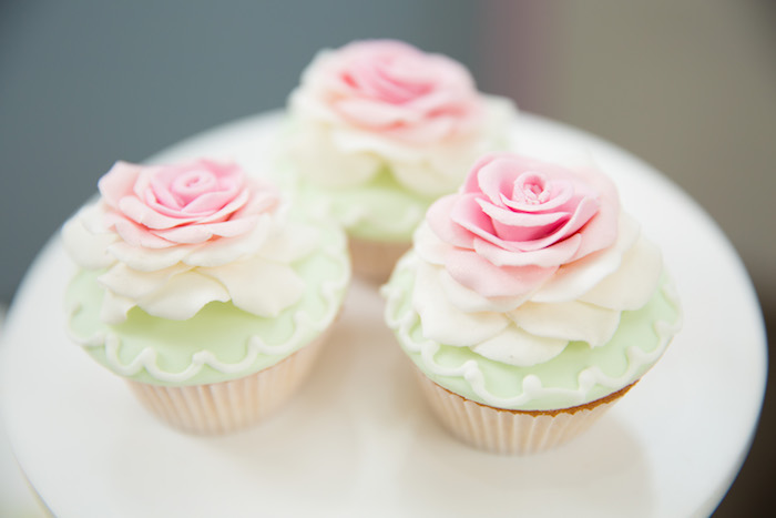 Shabby chic cupcakes from a Shabby Chic Little Bird Birthday Party on Kara's Party Ideas | KarasPartyIdeas.com (27)