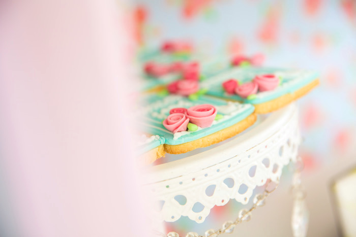 Shabby chic cookies from a Shabby Chic Little Bird Birthday Party on Kara's Party Ideas | KarasPartyIdeas.com (24)