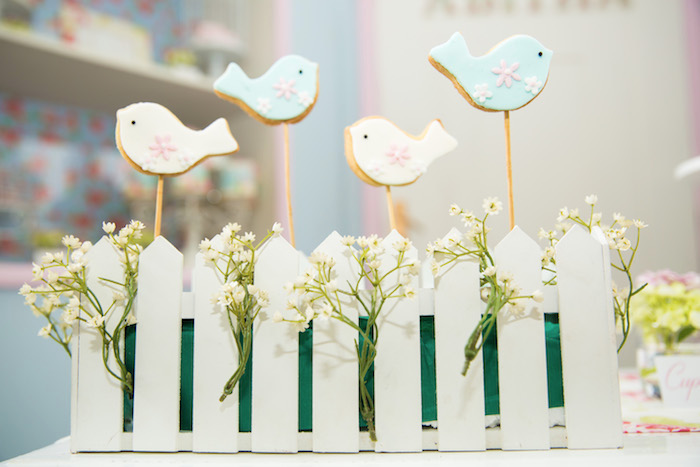 Bird cookie pops from a Shabby Chic Little Bird Birthday Party on Kara's Party Ideas | KarasPartyIdeas.com (20)